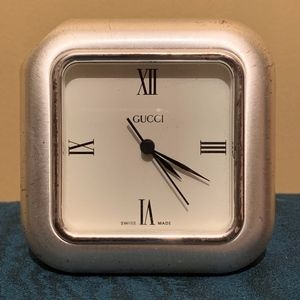 Gucci Desk Clock, Silver
